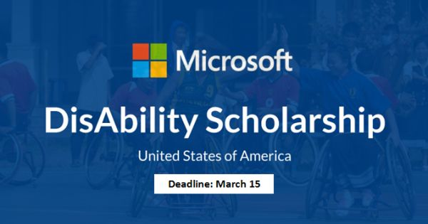 Microsoft DisAbility Scholarship 2018 2019 Developing Career